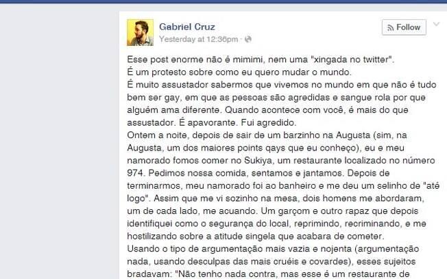 Reprodução do post de Gabriel Cruz no Facebook