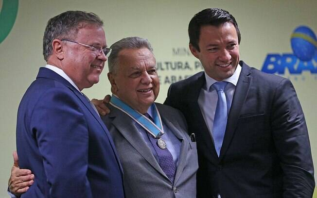 Os ex-ministros da Agricultura Blairo Maggi, Roberto Rodrigues e o ex-secretário-executivo do ministério, Eumar Roberto Novacki, em 2017