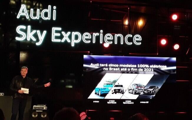 Presidente e CEO da Audi do Brasil, Johannes Roscheck, durante evento da marca, em São Paulo, fala sobre novos carros elétricos
