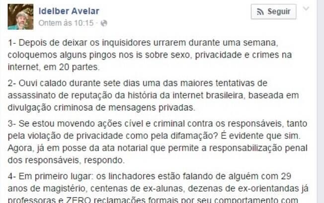 """Em seu perfil no Facebook, professor Idelber Avelar se diz  vítima de """"uma das maiores tentativas de assassinato de reputação da história da internet brasileira"""""""