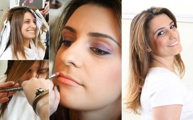 Após corte, coloração e maquiagem, Mariana sai do salão repaginada