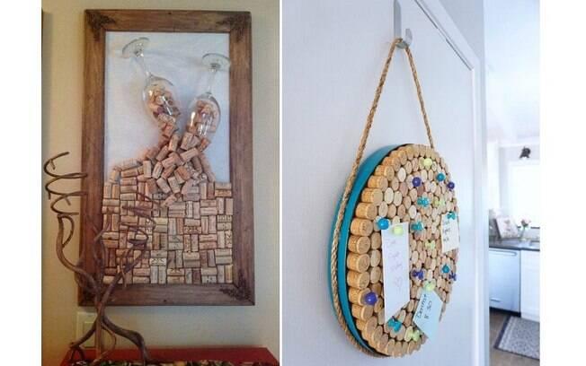 Você pode desenhar na parede, preenchendo os contornos com rolhas, ou emoldurá-las, formando quadros e paineis