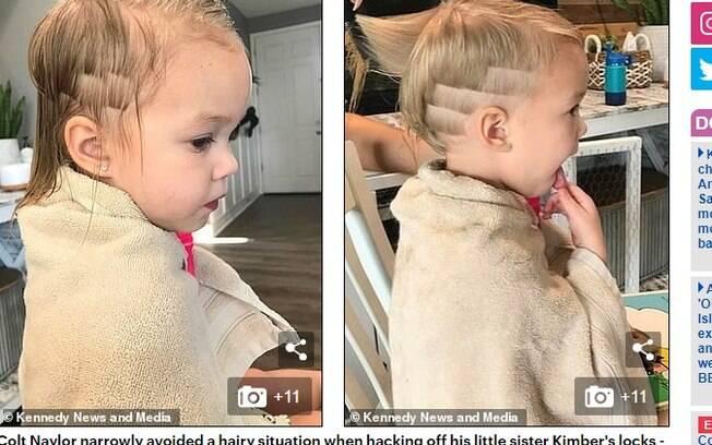 Kimber, de 2 anos, recebeu um corte de cabelo feito pelo irmão de 3