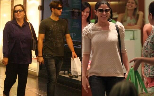 Cláudia Jimenez passeia com o namorado e Carol Castro faz compras em shopping