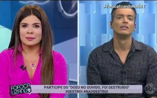 Mara Maravilha chora ao vivo ao ser provocada por Léo Dias