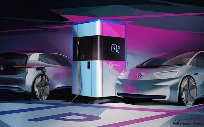 VW Electric: estação de recarga para carros elétricos pode abastecer até quatro modelos de uma vez só