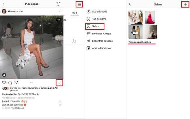 É possível salvar o conteúdo publicado por outras pessoas em pastas e criar coleções de imagens no seu perfil do Instagram