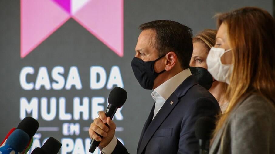 Governador João Doria durante lançamento do projeto Casa da Mulher em São Paulo
