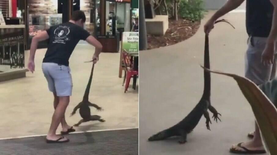 O homem precisou parar o jantar para colocar o animal para fora