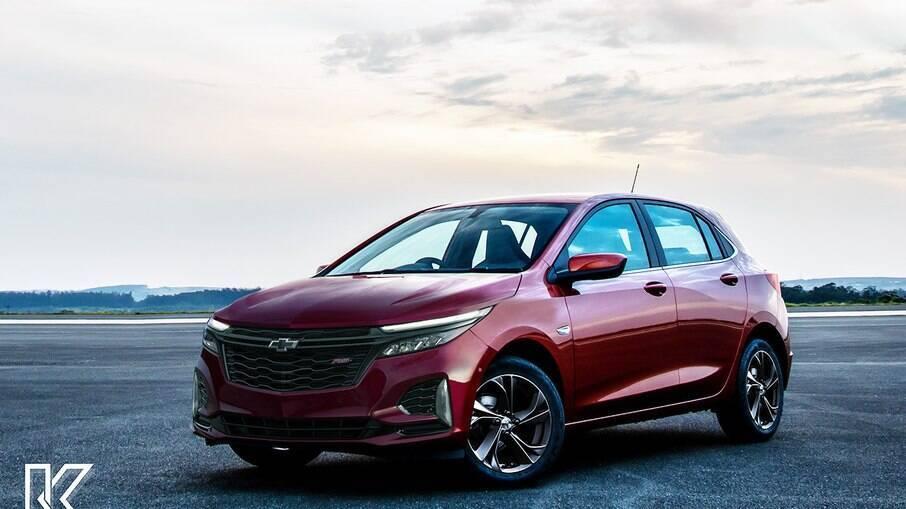 Chevrolet Onix 2024: projeção mostra que o compacto deverá ter frente mais arrojada no mesmo estilo do novo Equinox