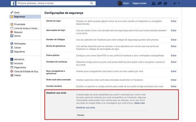 Ao desativar o perfil no Facebook, usuário mantém a opção de retornar à rede social no futuro