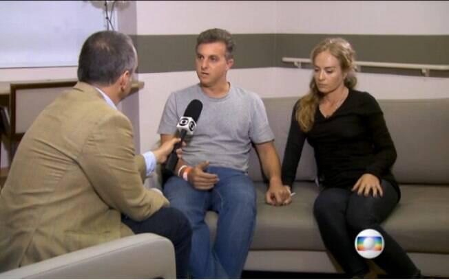 Luciano Huck e Angélica falam com a reportagem do 'Jornal Nacional'