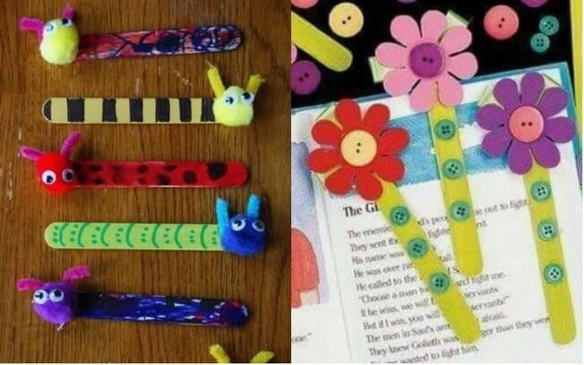 Com cartolina ou palitos de sorvete as crianças podem criar marcadores de página divertidos para o Dia dos Avós