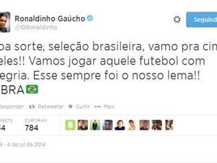 Ronaldinho passou força e pediu futebol alegre para o Brasil