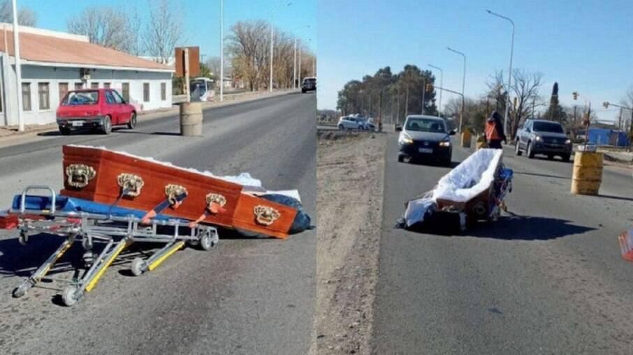 Caixão é encontrado aberto no meio de rodovia na Argentina