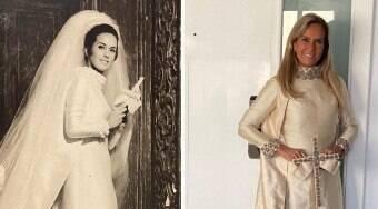 Helô Pinheiro usa vestido de noiva 55 anos após casamento