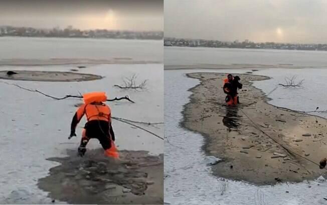 Socorrista salva cão de lago congelado