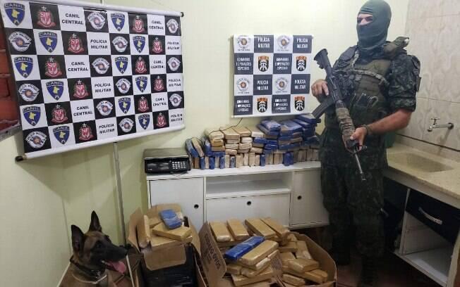 COE e Canil encontraram centenas de quilos de drogas em barracos em Paraisópolis