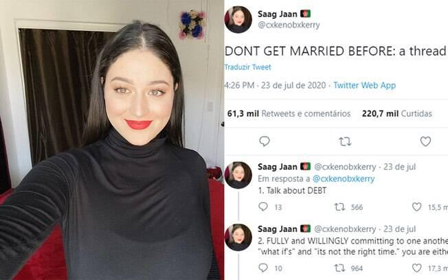 A californiana Saag Jaan viralizou com uma lista de coisas para debater antes de casar