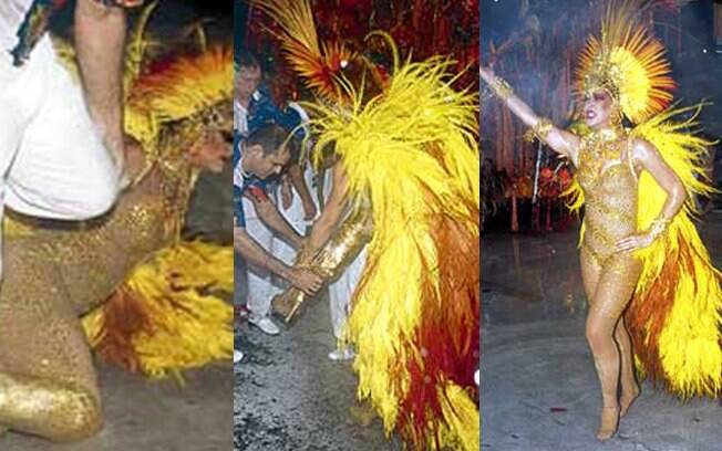 Claudia Raia caiu em 2004 no desfile de sua escola do coração: Beija-Flor