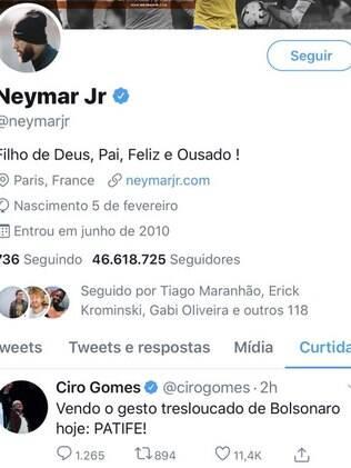 Neymar curtiu publicação contra Bolsonaro
