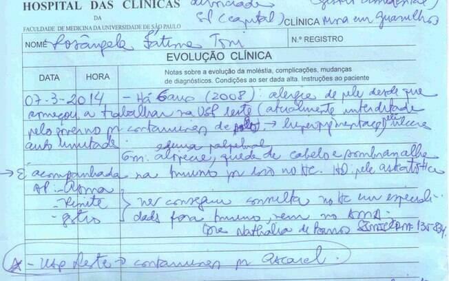 Relatório de evolução Clínica de Rosângela Toni