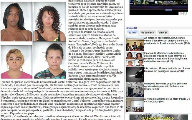 Travestis brasileiros rodam na Itália acusados de sequestros