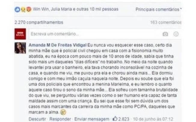 O comentário de Aline, filha da policial civil Marielene, no Facebook da BBC Brasil