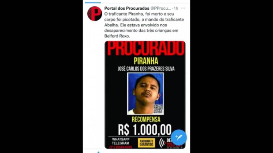 Portal dos Procurados faz postagem confirmando a morte do traficante Piranha do Castelar