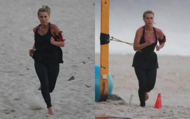 Carolina Dieckmann tem sido vista dia e noite treinando na areia