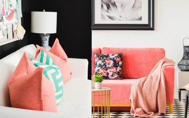 A cor do ano, divulgada pela Pantone, pode ser usada na sala, seja nas almofadas ou até mesmo no sofá