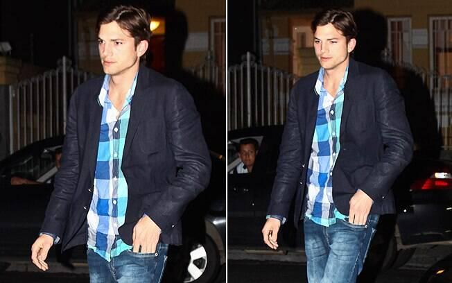 Ashton Kutcher chegou à festa sem conversar com a imprensa