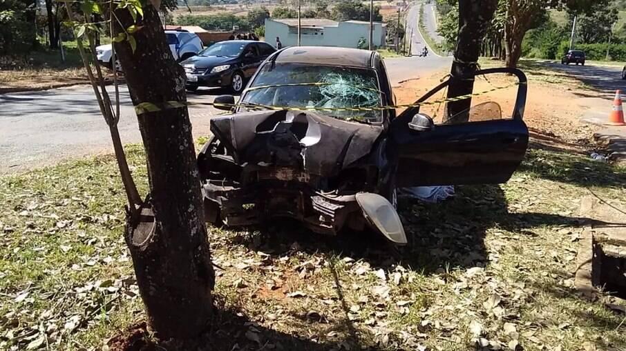 Momento do acidente, na cidade de Goiânia-GO