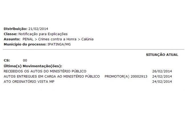 Segundo autos do processo, Laryssa Oliveira já foi notificada sobre acusação de crime contra a honra
