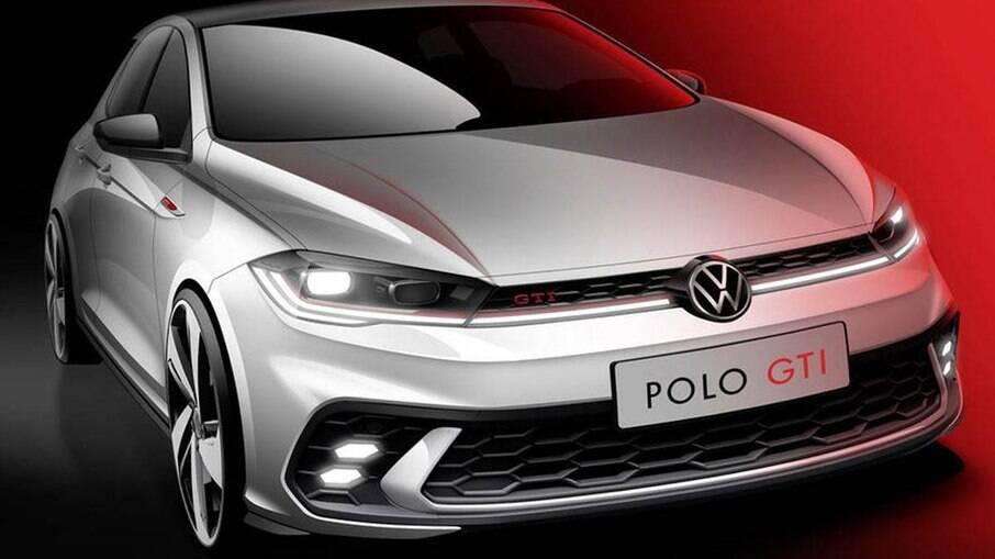 VW Polo GTI 2022: desenho mostra grade frontal com filete de LED e faróis de neblina com mesmo formato das aberturas de ar