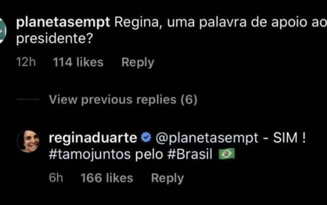 Regina Duarte responde seguidor