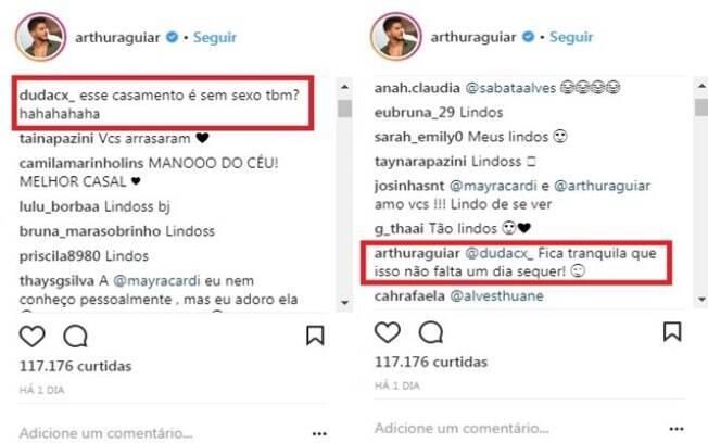 Arthur Aguiar responde seguidora em seu Instagram: