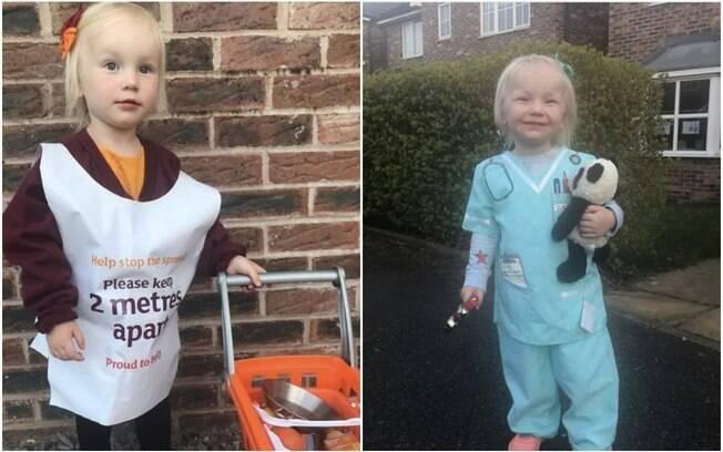 A menina, que tem dois anos de idade e vive na Inglaterra, se inspirou na avó enfermeira para homenagear os profissionais