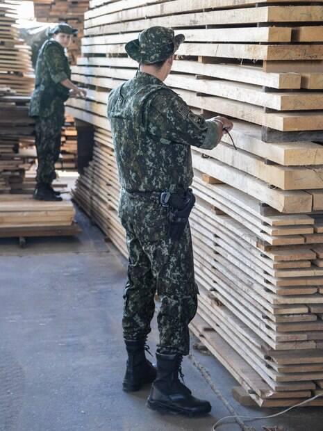 Policiais da Ambiental verificando se a madeira cortada é certificada