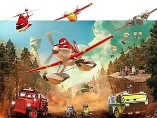 """Ação.Dusty (ao centro) e a equipe de combate de """"Aviões 2"""", no fictício Piston Peak National Park"""