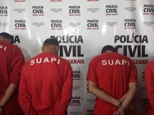 SUPER - CIDADES - 07.08.2014 A Policia Civil apresentou quatro suspeitos no envolvimento da morte de Wudson Flavio Goncalves , 32 , em 14 de maio deste ano .   FOTO : Jhonny Cazetta