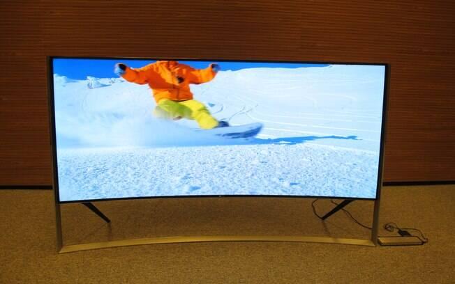 TV com tela de 105 polegadas resolução 4K é o mais recente lançamento da Samsung no Brasil. Foto: Emily Canto Nunes/iG São Paulo