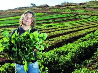 Próprias mãos. Roseli Resende produz hortaliças e não pensa em buscar financiamento, mantendo a propriedade com recursos próprios