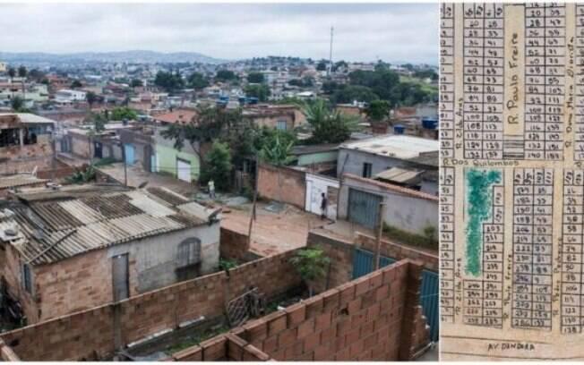 Vista geral da ocupação Dandara, em Belo Horizonte, e detalhe do planejamento de ocupação do solo da área, feito por equipes da UFMG e PUC-MG com lotes de tamanhos iguais