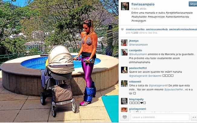 Flavia, a namorada de Eike, com o filho caçula do ex-bilionário. Foto: Reprodução