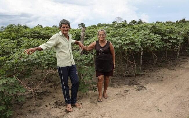 A sem-terra Berenice Lopes e seu marido, Hélio Moreira Lopes, em frente à plantação de mandioca do casal