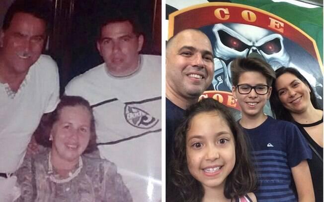 Senhor Gentil e Dona Dalva, pai e mãe do Major PM Gentil Carvalho. Ao lado, Gentil, sua filha  Natália, seu filho Raí e sua esposa Melissa
