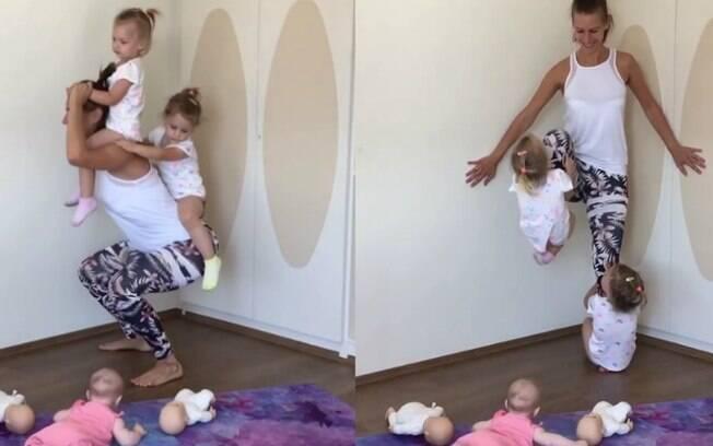 Juca faz exercícios físicos na companhia das filhas para se manter saudável