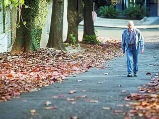 Beleza. Folhas ocupam calçadas e parte do asfalto de rua