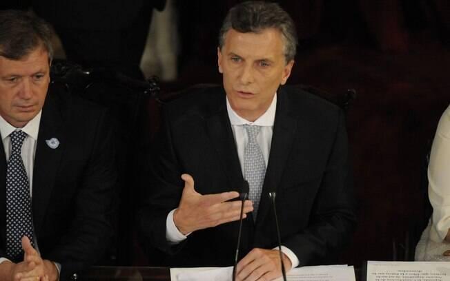 O novo presidente da Argentina, Mauricio Macri, em seu discurso de posse no Congresso